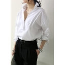 White Lapel Long Sleeve Boyfriend Shirt