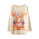 Floral Deer Print Scoop Neck Long Sleeve Sweater