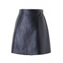 Black PU Zipper Side Mini A-Line Skirt