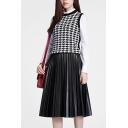Black PU Pleated Zipper Side Midi Skirt