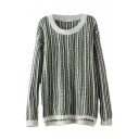 Round Neck Long Sleeve Stripe High Low Sweater