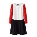 Long Sleeve Round Neck Color Block Smock Dress