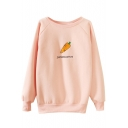 Carrot Print Round Neck Long Sleeve Sweatshirt