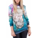 Floral Skull Print Round Neck Long Sleeve Sweatshirt
