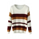 Color Block Stripe Round Neck Long Sleeve Knit Sweater