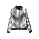Houndstooth Pattern Stand Collar Zipper Long Sleeve Coat