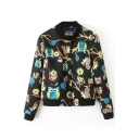 Cute Cartoon Owl Print Long Sleeve Single-Breasted Bomber Jacket