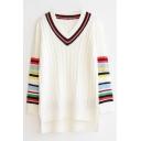 V-Neck Stripe Long Sleeve High Low Split Side Sweater