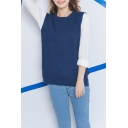 Plain Round Neck Sleeveless High Low Split Hem Sweater