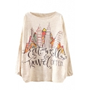 Modern City Print Scoop Neck Long Sleeve Sweater