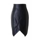 Black PU Asymmetrical Hem Zip Back Wrap Skirt