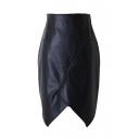 Black PU Asymmetrical Hem Zip Back Wrap Skirt