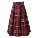 Plaid Zipper Back Belt Waist A-Line Midi Skirt