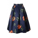 Floral Print Elastic Zipper Back Pleated Midi Skirt