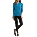 Blue V-Neck Long Sleeve High Low Sweater