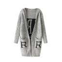 Gray Letter Pattern Back Double Pocket Long Sleeve Hooded Open Front Cardigan