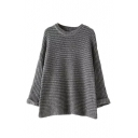 Round Neck Ripped Knit Long Sleeve Cuffed Sweater