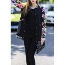 Floral Print Long Sleeve Stand Collar Single Breasted Bomber Jacket