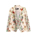 Beige Lapel Long Sleeve Floral Print Crop Blazer