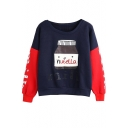Color Block Round Neck Long Sleeve Cartoon Print Sweatshirt