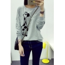 Animal Print Round Neck Long Sleeve Sweatshirt