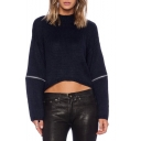 High Neck Long Sleeve Plain Short Zipper Detail Sweater