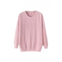 Pullover Plain Round Neck Long Sleeve Sweater