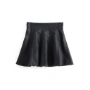 Mini Black PU-Leather Zipper Side A-Line Skirt