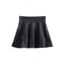 Mini Black PU-Leather Zipper Side A-Line Skirt