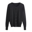 Plain Single Breasted Long Sleeve Round Neck Knit Cardigan