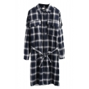 Classic Plaid Lapel Single Breasted Tie Waist Shirt Dress