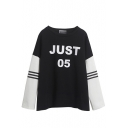 Color Block Round Neck JUST 05 Print T-Shirt