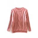 Plain Long Sleeve Cable Knit High Low Sweater