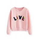 Multi Color Letter Panel Long Sleeve Crop Sweatshirt