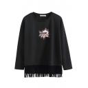 Tassel Round Neck Long Sleeve Letter Print Sweatshirt