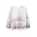 Round Neck Long Sleeve Floral Letter Print Sweatshirt