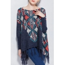 Tassel Boat Neck Long Sleeve Tribal Print Sweater