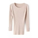Round Neck Plain Long Sleeve Button Cuff Knit Sweater
