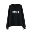 Letter Black Print Long Sleeve Printed Cuff Sweater