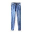 Zipper Fly Ripped Single Button Wash Jeans