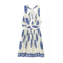 White Background Blue Floral Print Sleeveless Open Back Fit and Flare Dress