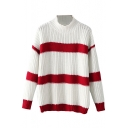 High Neck Color Block Stripe Long Sleeve Knit Sweater