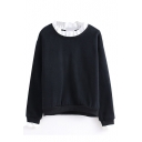 Color Block Round Neck Plain Long Sleeve Pullover Sweatshirt