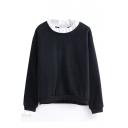 Color Block Round Neck Plain Long Sleeve Pullover Sweatshirt