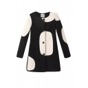 Round Neck Polka Dot Single Breasted Long Sleeve Coat
