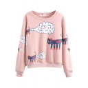 Cartoon Cat Print Long Sleeve Round Neck Sweatshirt