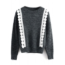 Round Neck Long Sleeve Crochet Beaded Knit Sweater