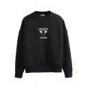 Battledore Embroidery Crew Neck Long Sleeve Sweatshirt