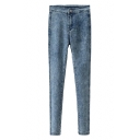Blue Dark Wash Zippered Fitted Pencil Jeans