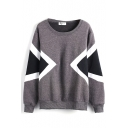 Round Neck Long Sleeve Pullover Color Block Sweatshirt